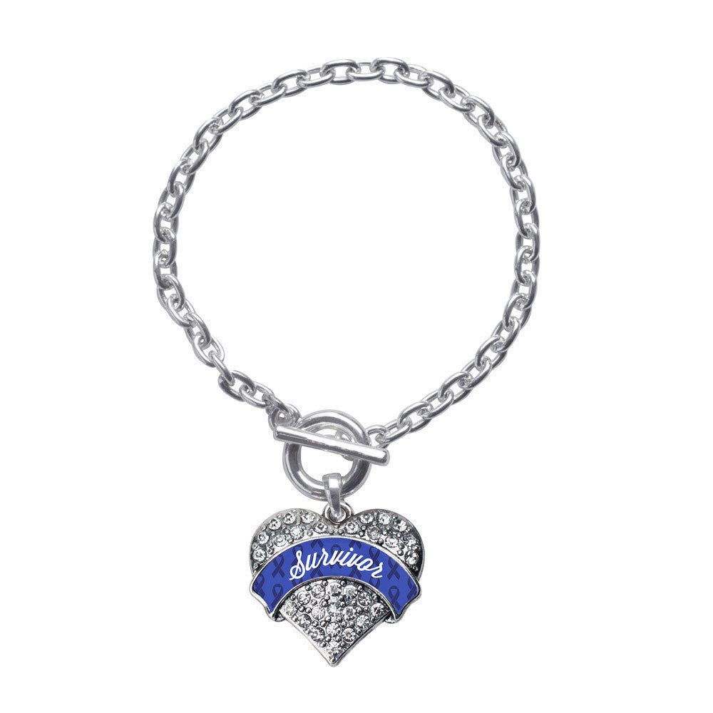 Blue Survivor  Pave Heart Charm