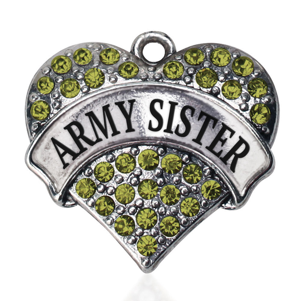 Army Sister Pave Heart Charm