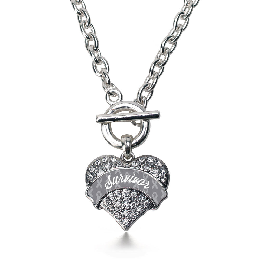 Gray Survivor  Pave Heart Charm