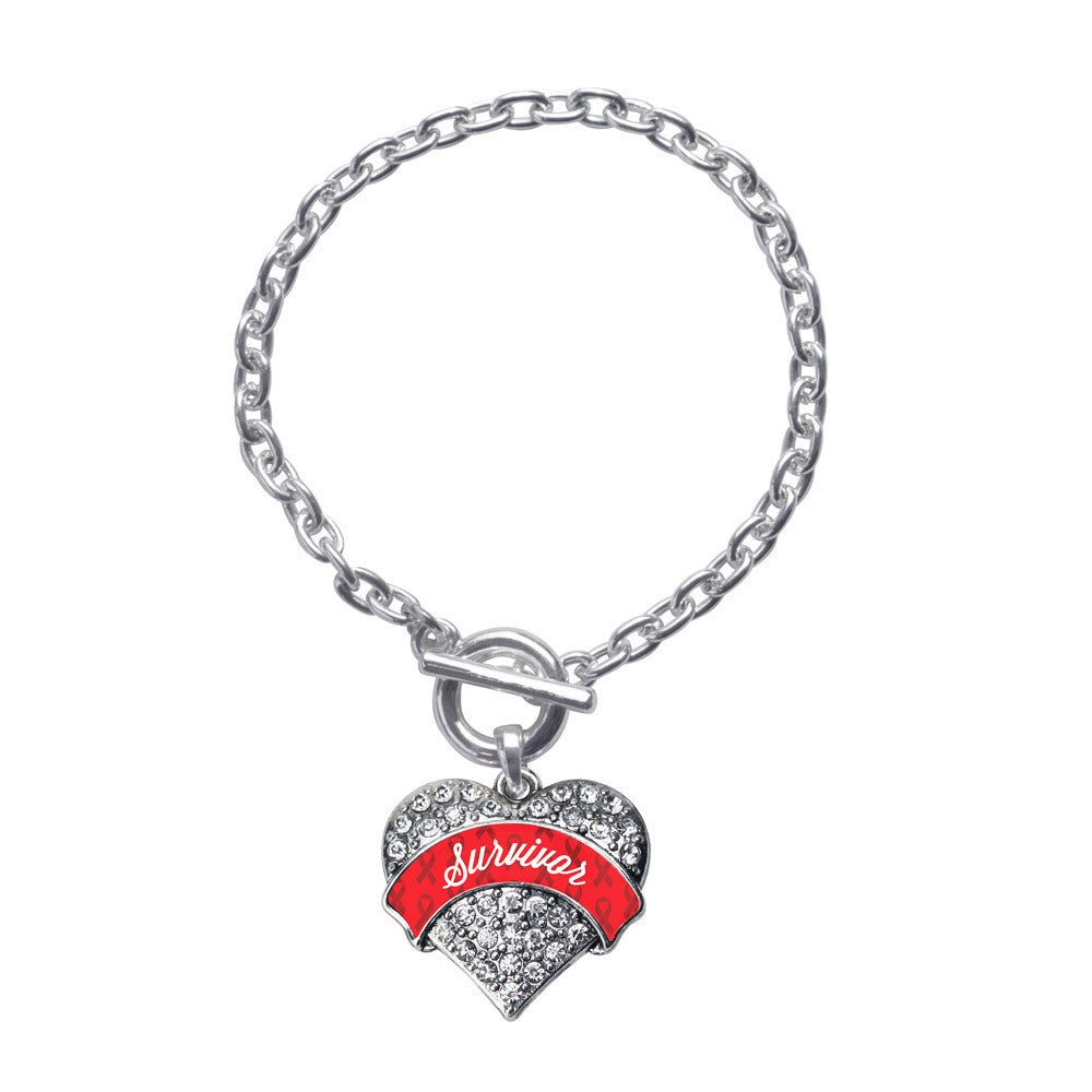 Red Survivor  Pave Heart Charm