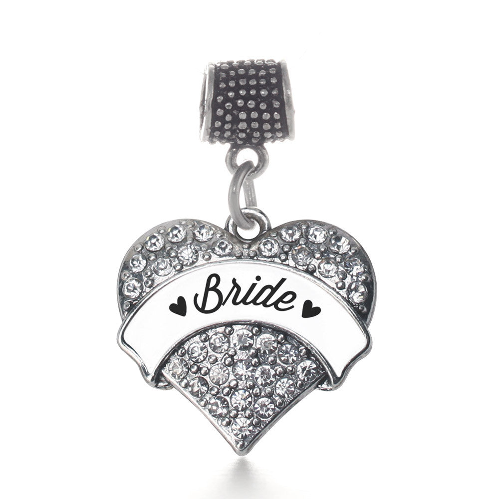 Black and White Bride Pave Heart Charm