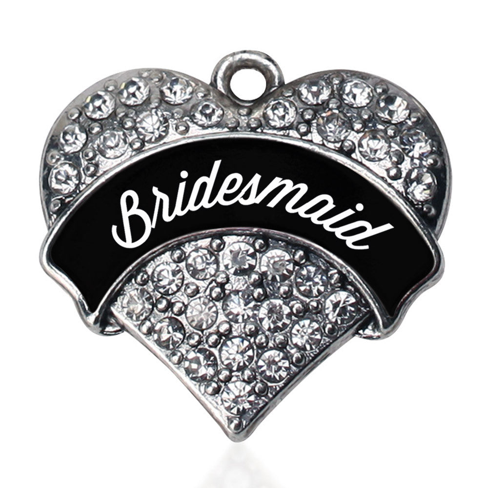 Black and White Bridesmaid Pave Heart Charm