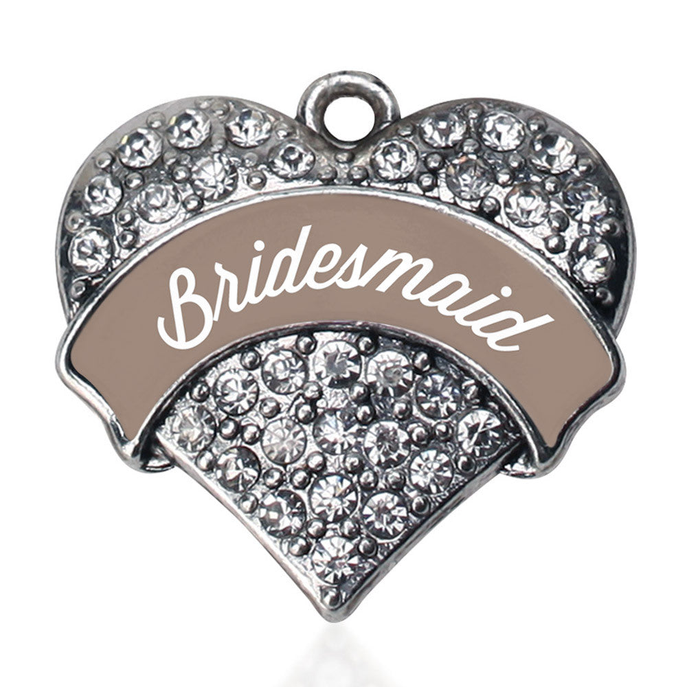 Brown and White Bridesmaid Pave Heart Charm