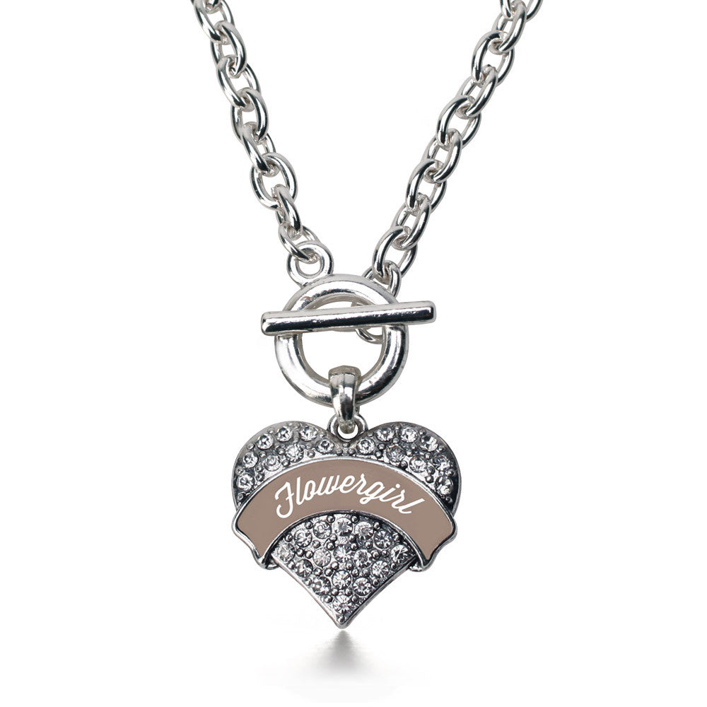 Brown and White Flower Girl Pave Heart Charm