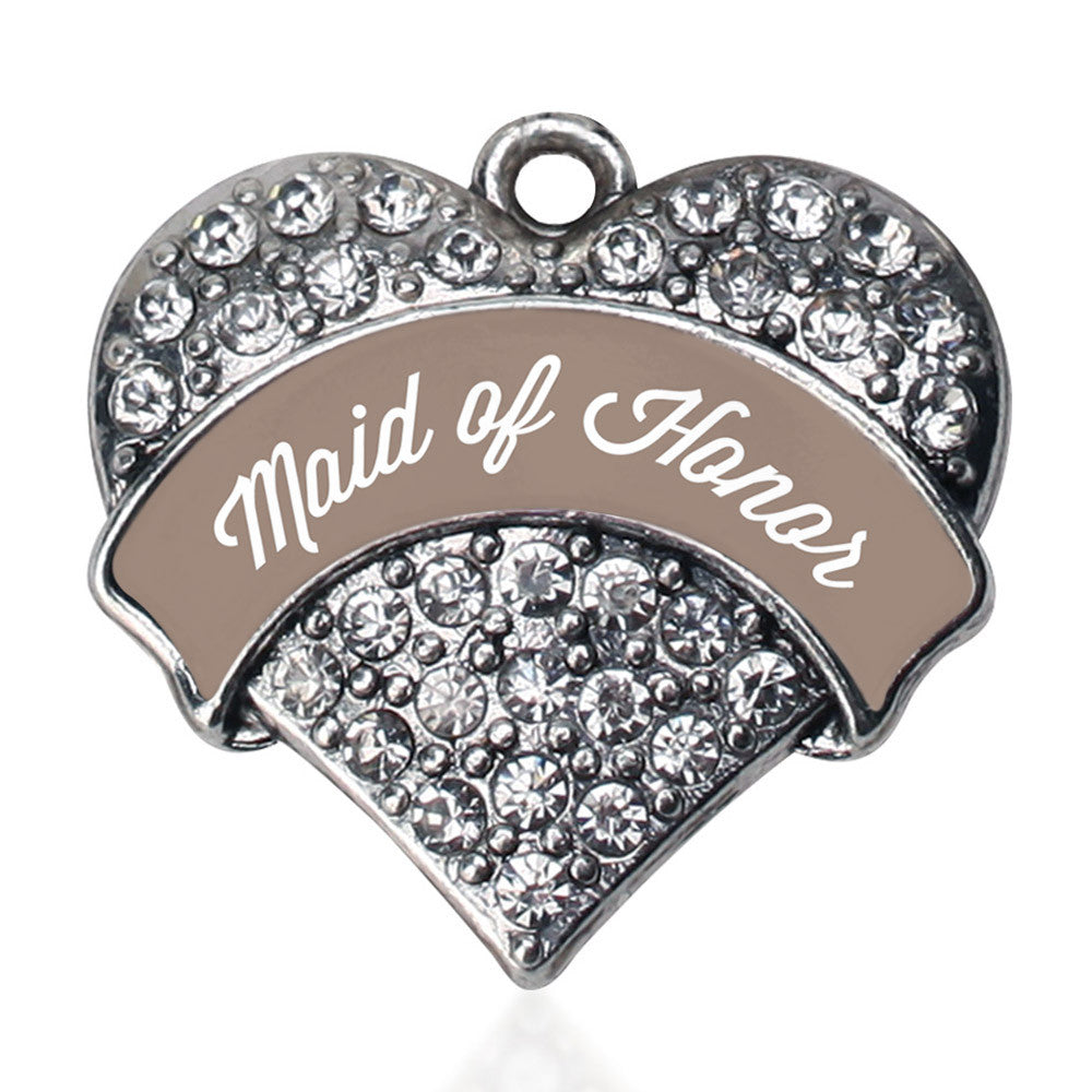 Brown and White Maid of Honor Pave Heart Charm