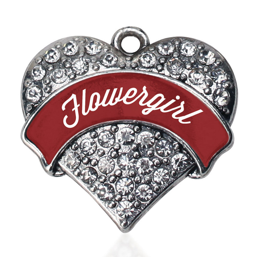Crimson Red Flower Girl Pave Heart Charm