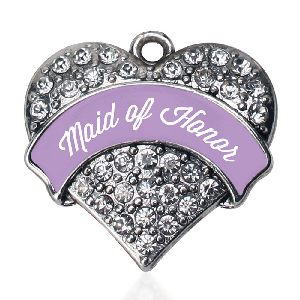 Lavender Maid of Honor Pave Heart Charm