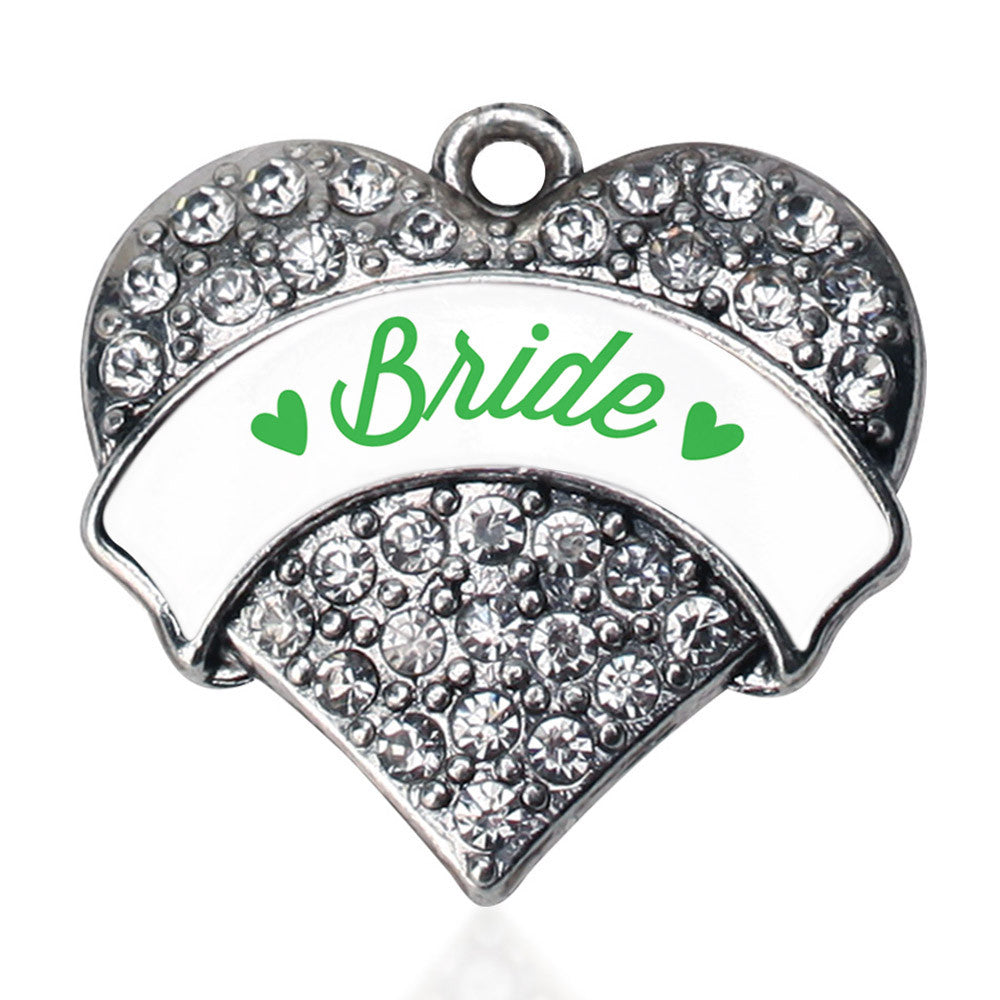 Emerald Green Bride Pave Heart Charm