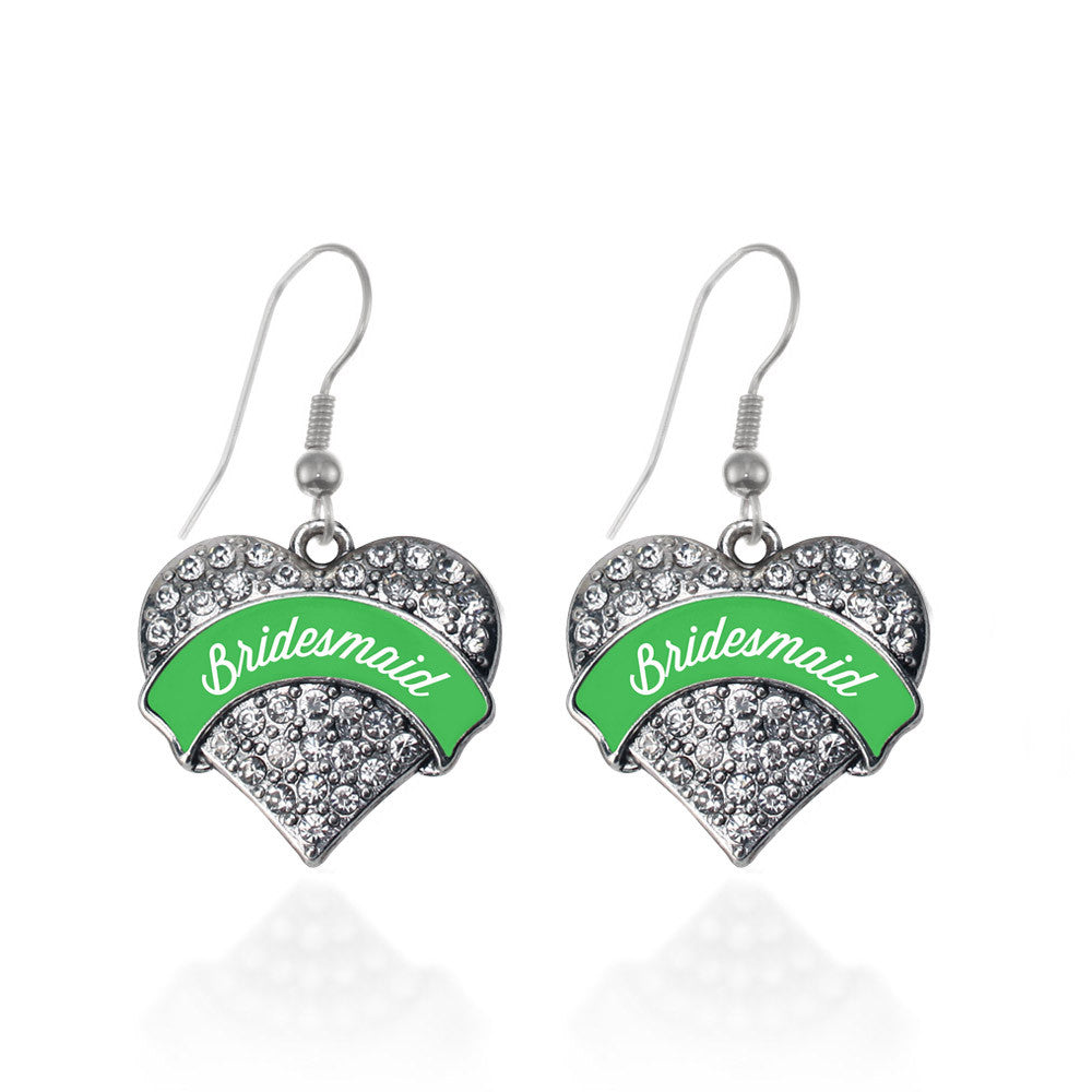 Emerald Green Bridesmaid Pave Heart Charm