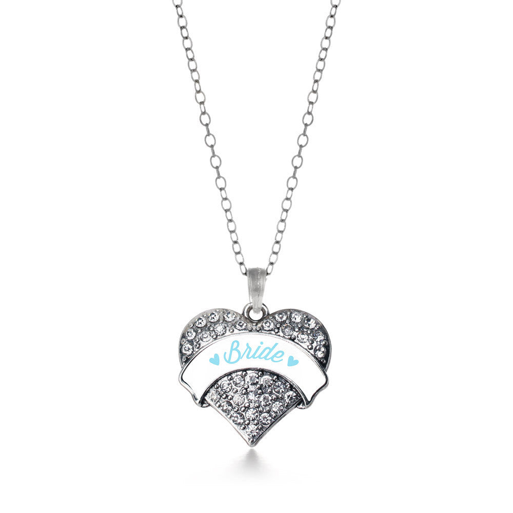 Light Blue Bride Pave Heart Charm
