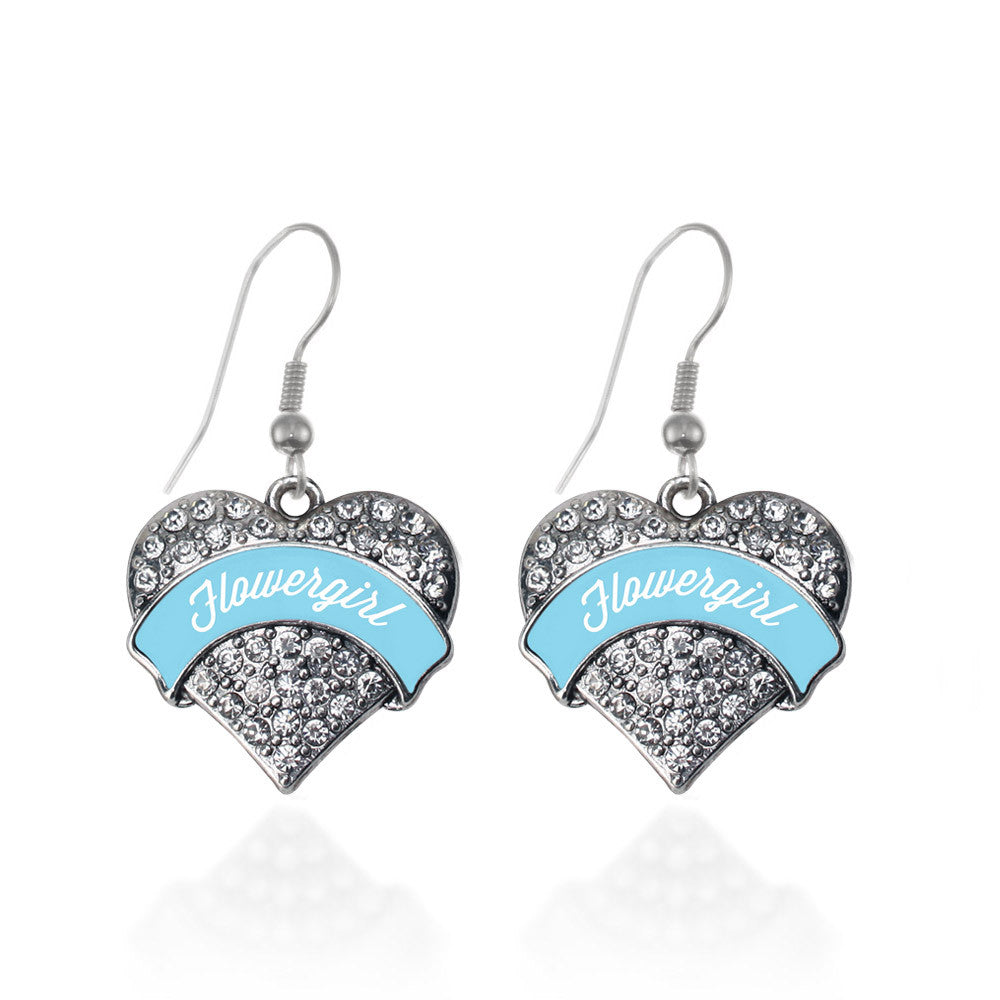 Light Blue Flower Girl Pave Heart Charm