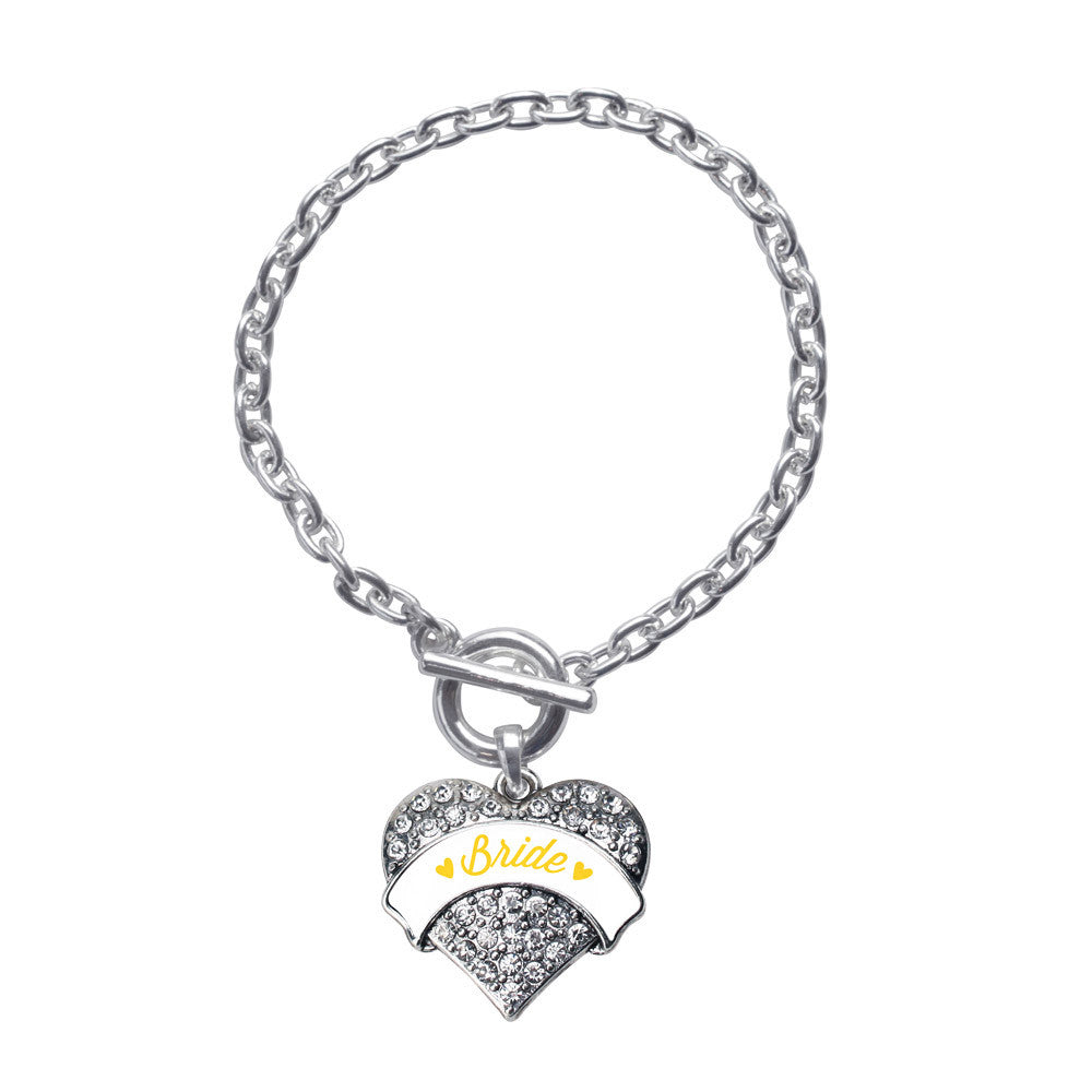 Marigold Bride  Pave Heart Charm
