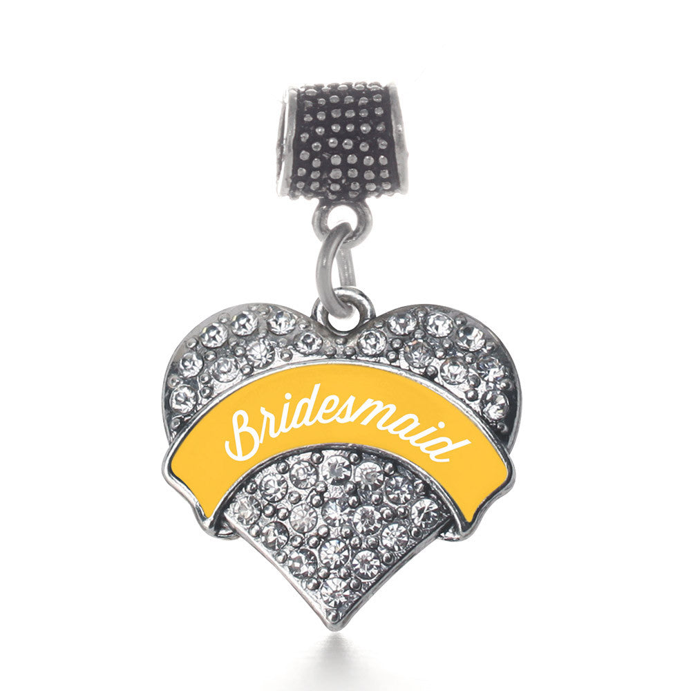 Marigold Bridesmaid  Pave Heart Charm