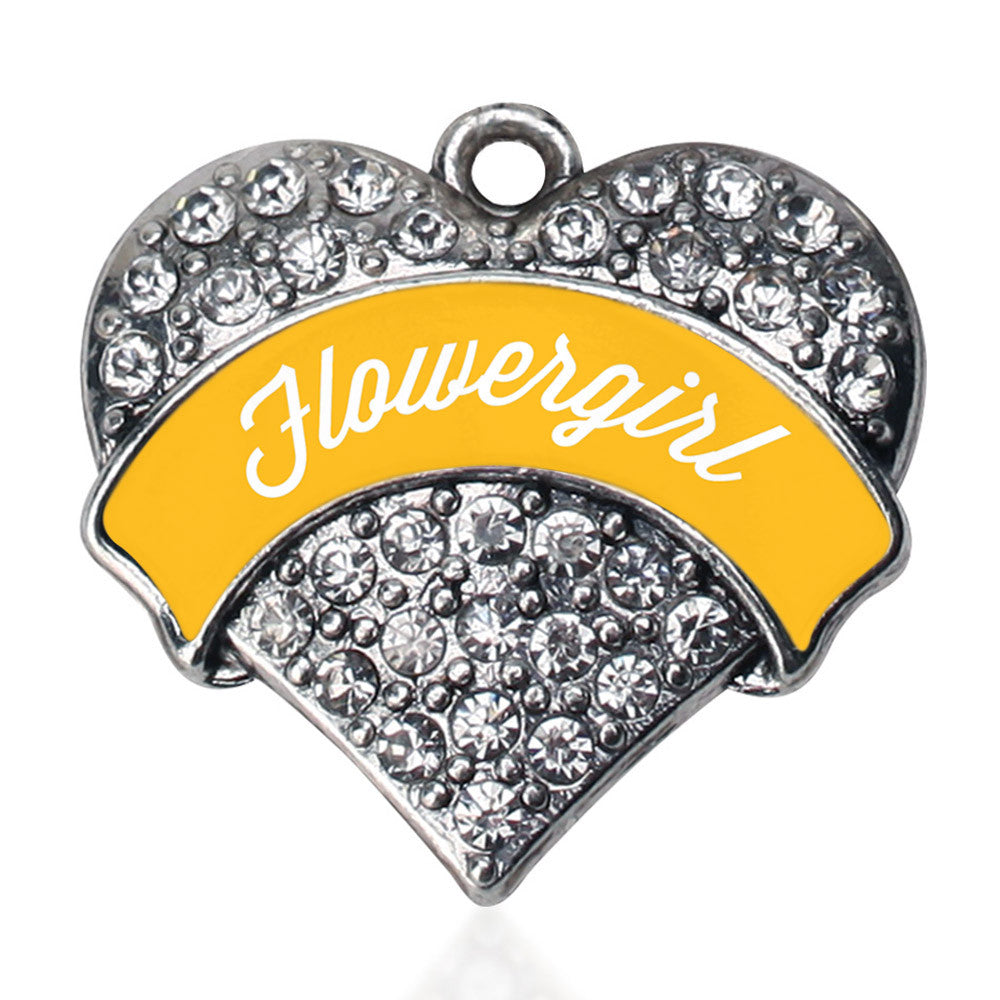 Marigold Flower Girl  Pave Heart Charm
