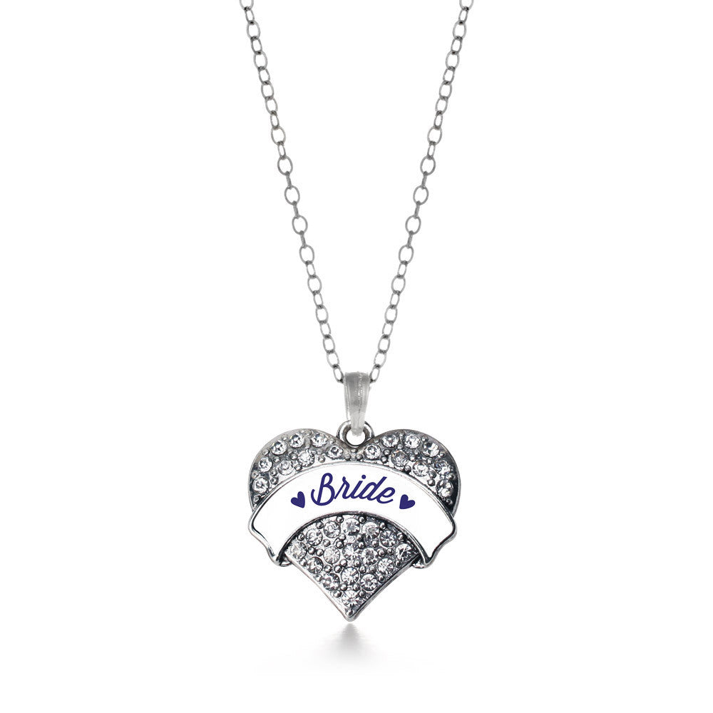 Navy Blue Bride  Pave Heart Charm