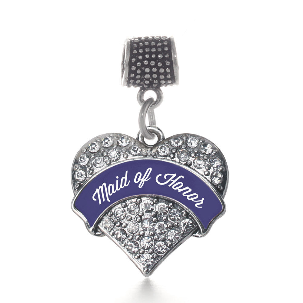 Navy Blue Maid of Honor Pave Heart Charm