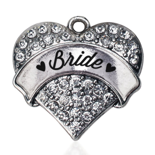 Silver Bride Pave Heart Charm