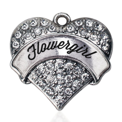 Silver Flower Girl Pave Heart Charm