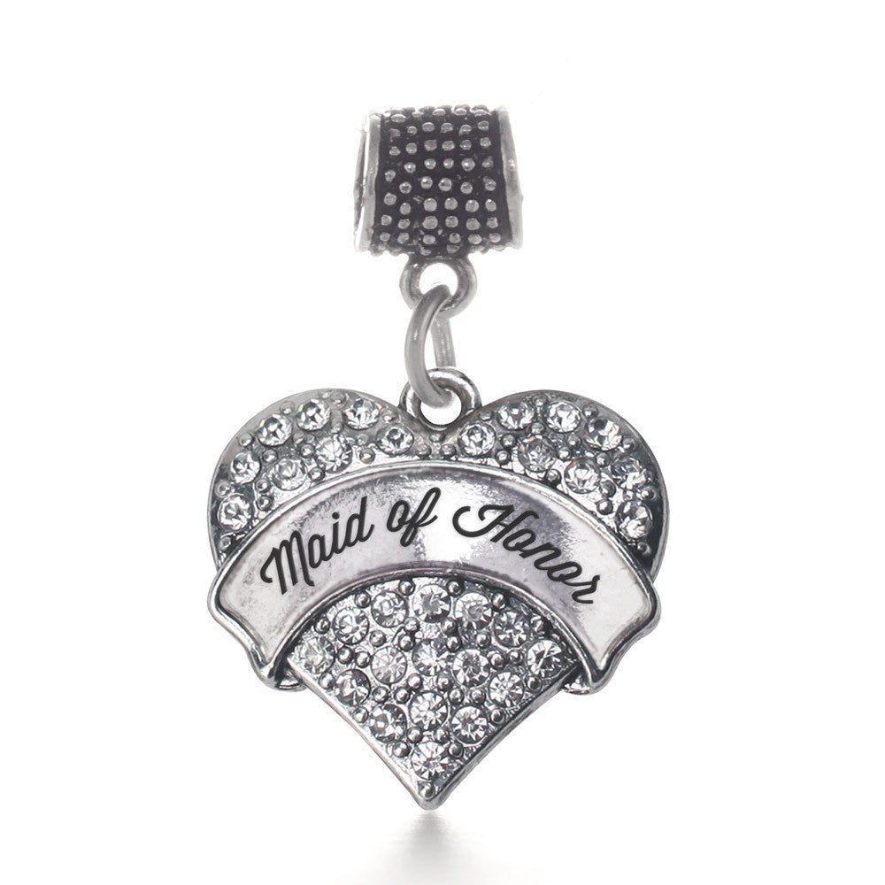 Silver Maid of Honor Pave Heart Charm