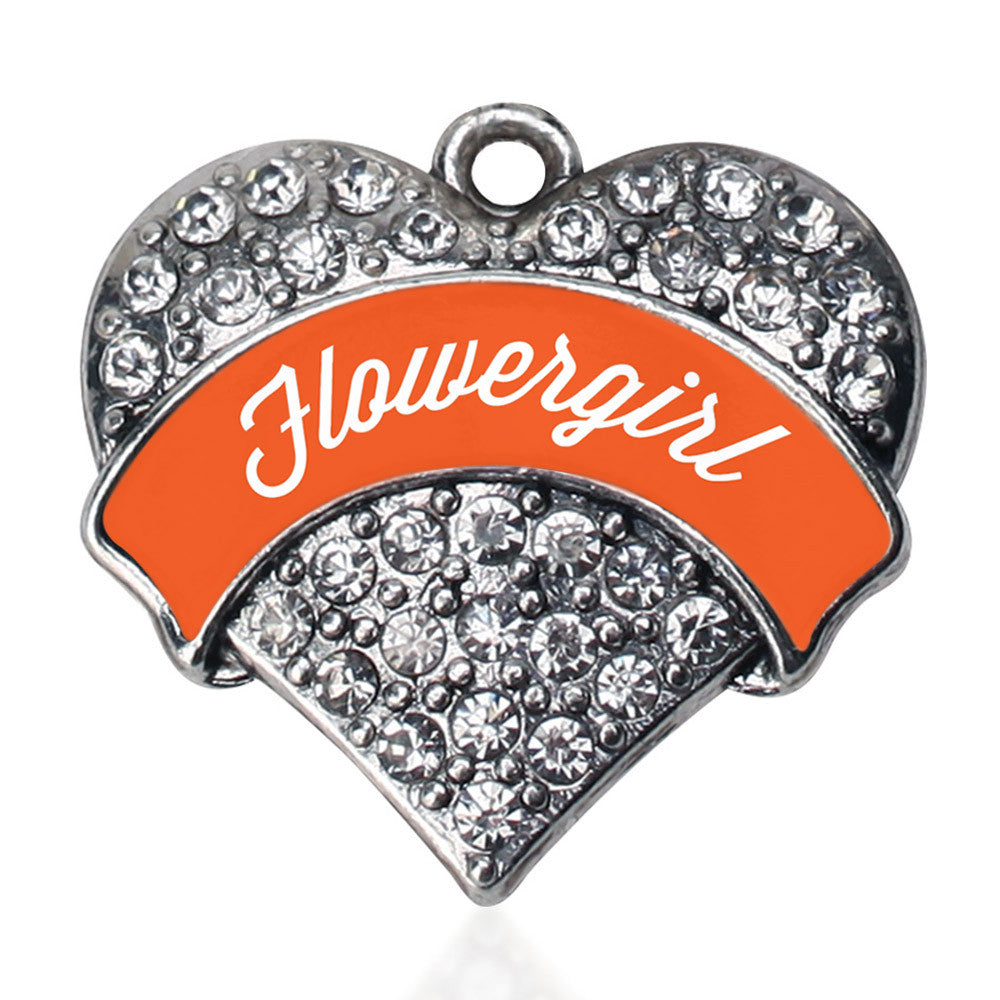 Orange Flower Girl  Pave Heart Charm