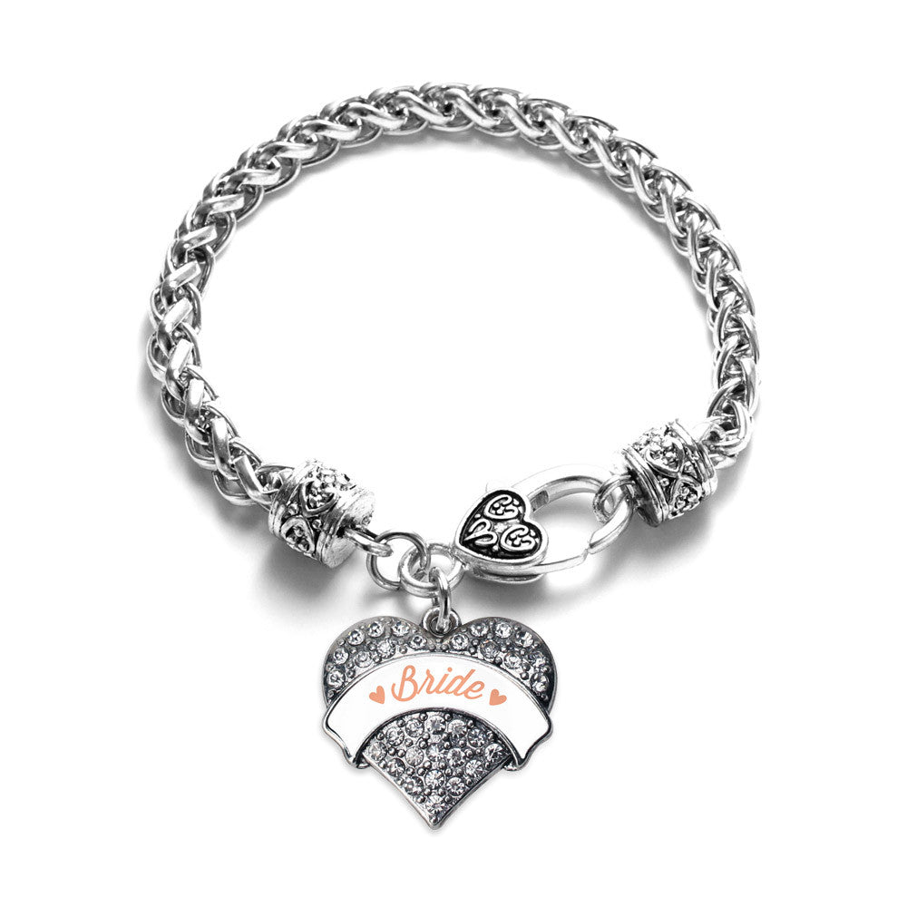 Peach Bride Pave Heart Charm