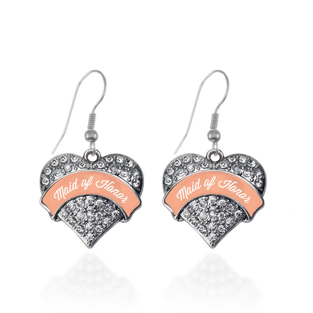 Peach Maid of Honor Pave Heart Charm