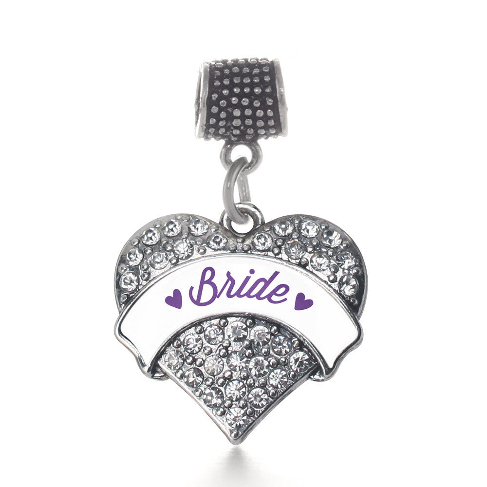 Purple Bride  Pave Heart Charm