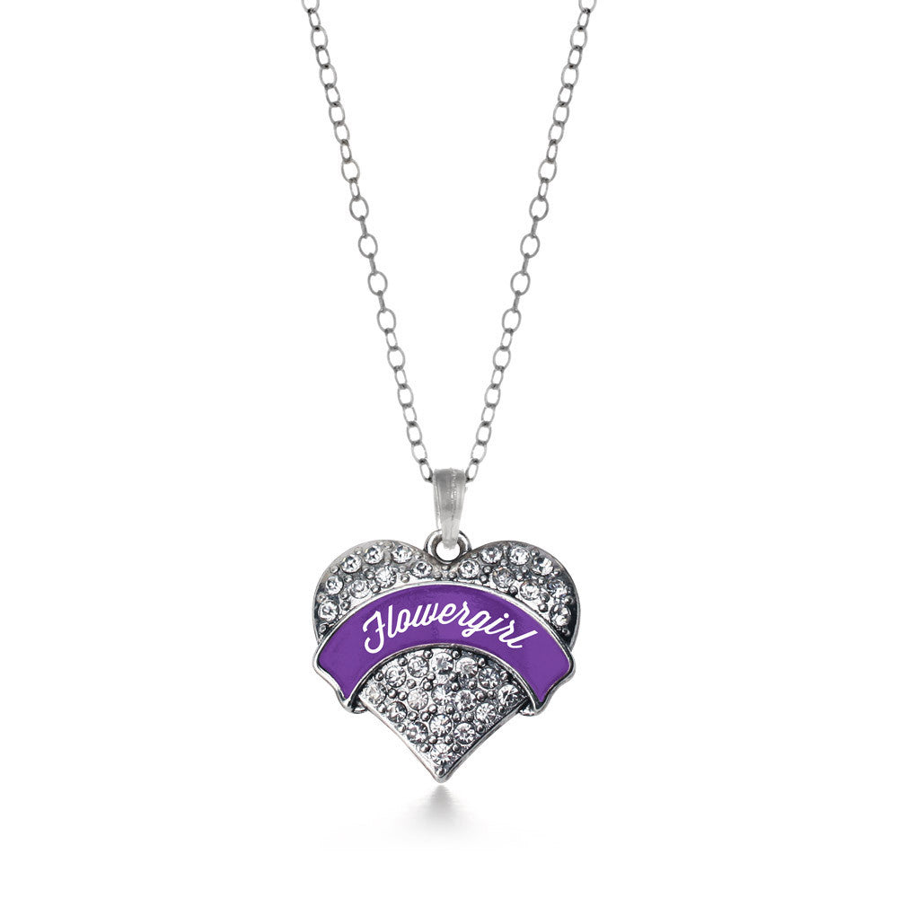 Purple Flower Girl  Pave Heart Charm