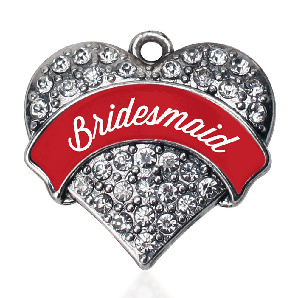Red Bridesmaid Pave Heart Charm