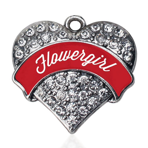 Red Flower Girl Pave Heart Charm