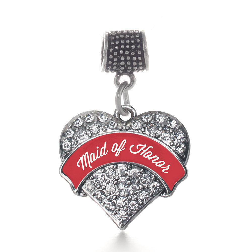 Red Maid of Honor  Pave Heart Charm
