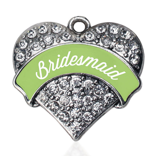 Sage Green Bridesmaid  Pave Heart Charm