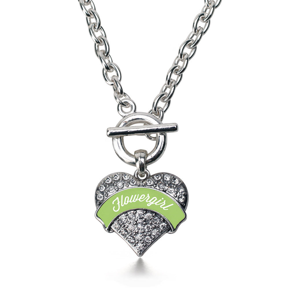 Sage Green Flower Girl Pave Heart Charm
