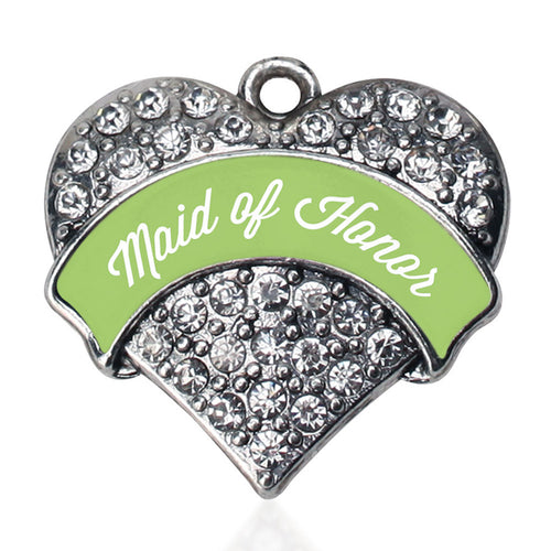 Sage Green Maid of Honor  Pave Heart Charm