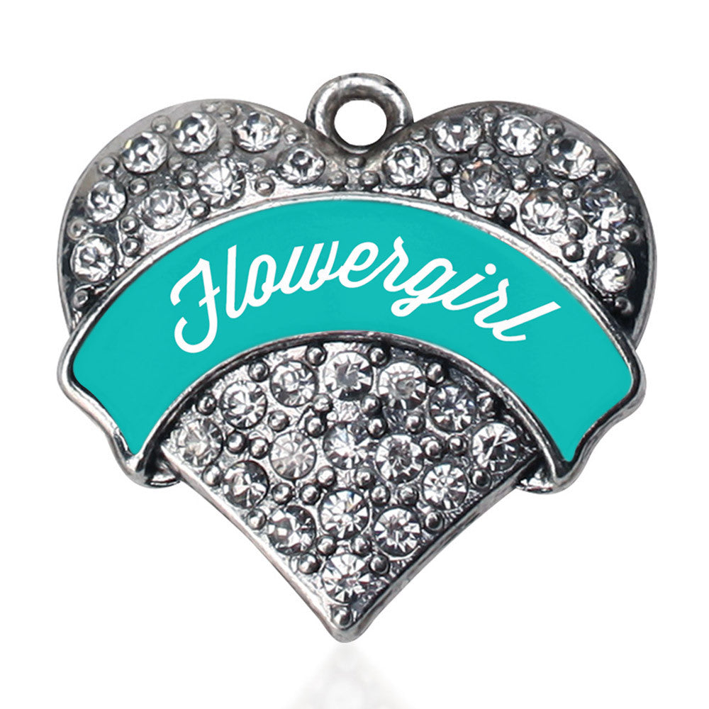 Teal Flower Girl  Pave Heart Charm