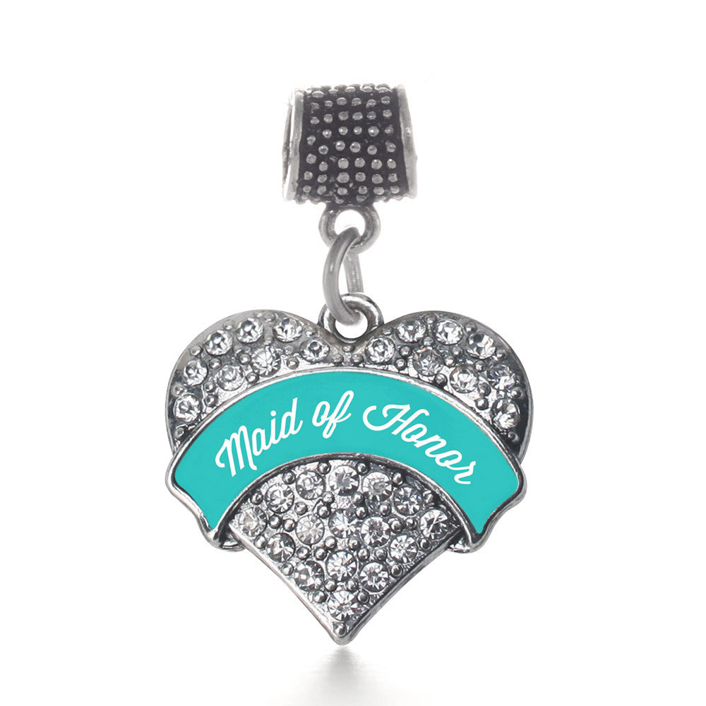 Teal Maid of Honor  Pave Heart Charm