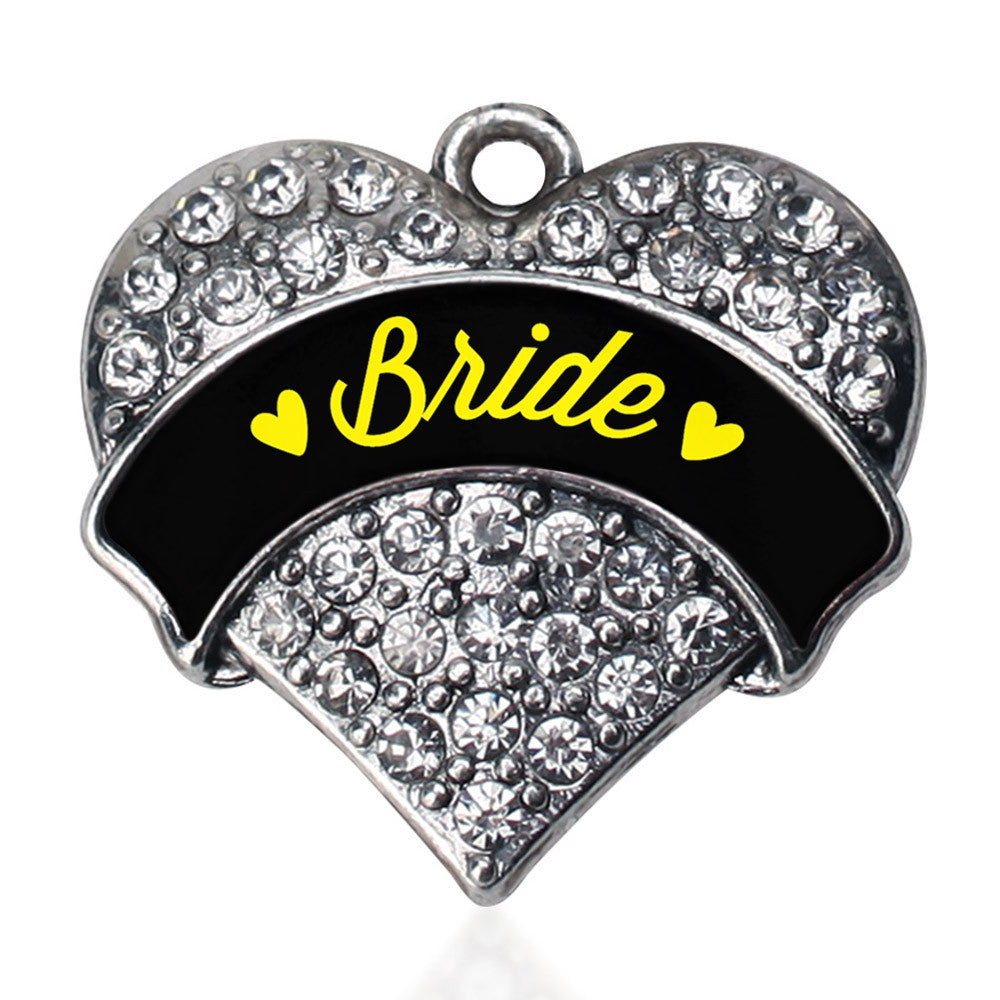 Yellow Bride  Pave Heart Charm