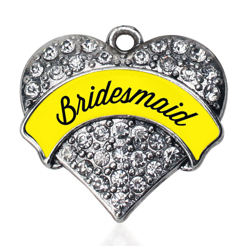 Yellow Bridesmaid Pave Heart Charm