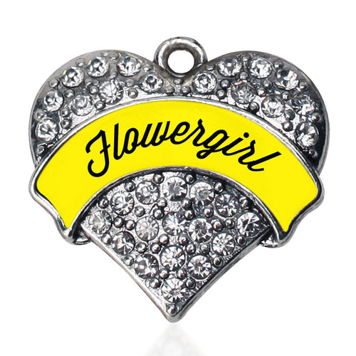 Yellow Flower Girl  Pave Heart Charm