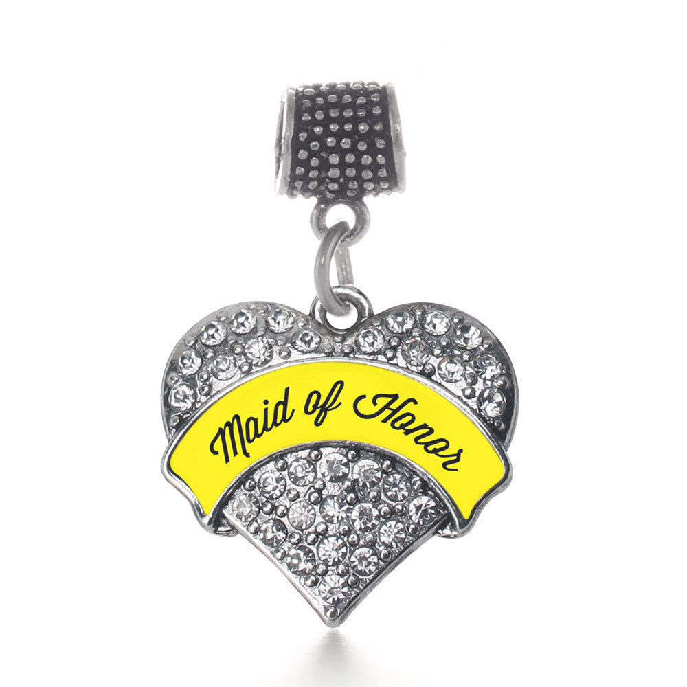 Yellow Maid of Honor  Pave Heart Charm