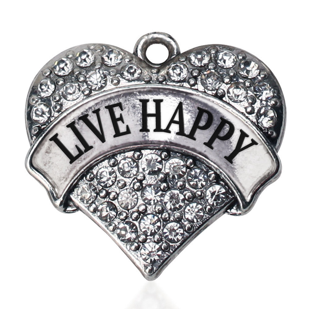 Live Happy Pave Heart Charm