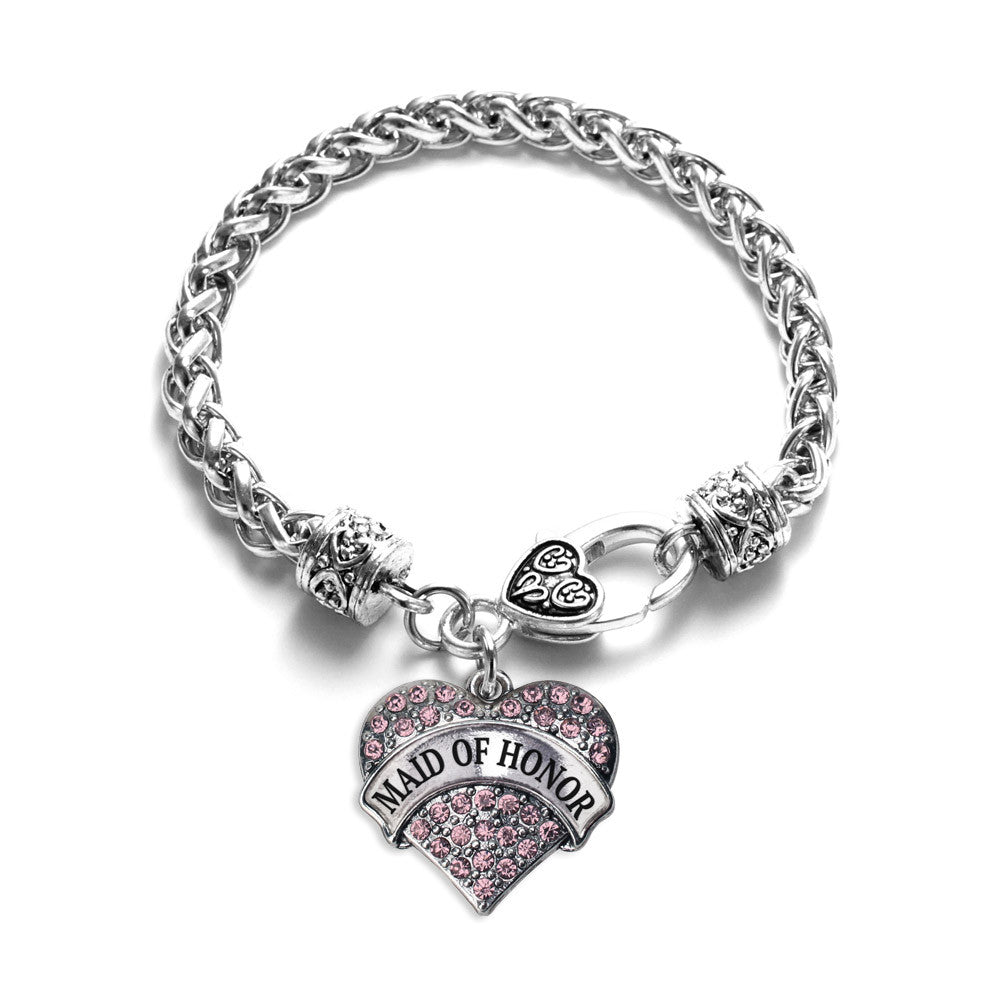 Pink Maid of Honor Pave Heart Charm