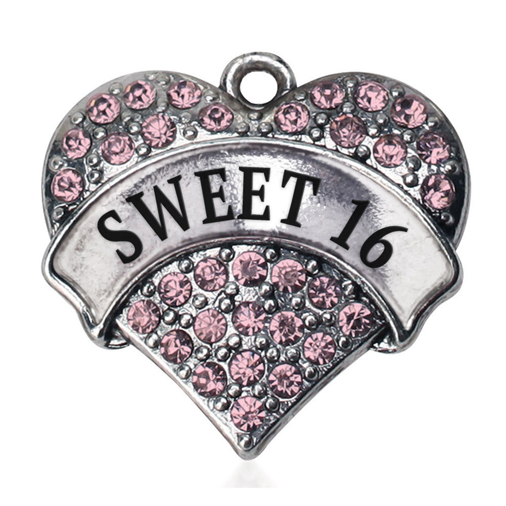 Pink Sweet 16 Pave Heart Charm