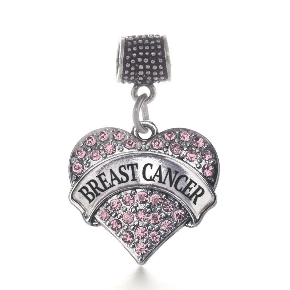 Pink Breast Cancer Pave Heart Charm