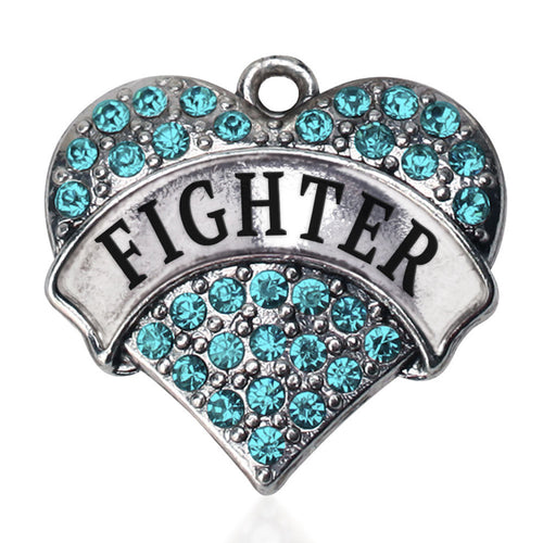 Teal Fighter Pave Heart Charm