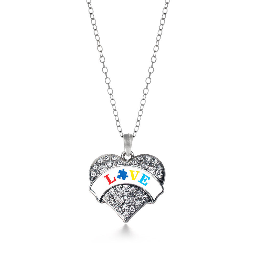 Autism Love Pave Heart Charm
