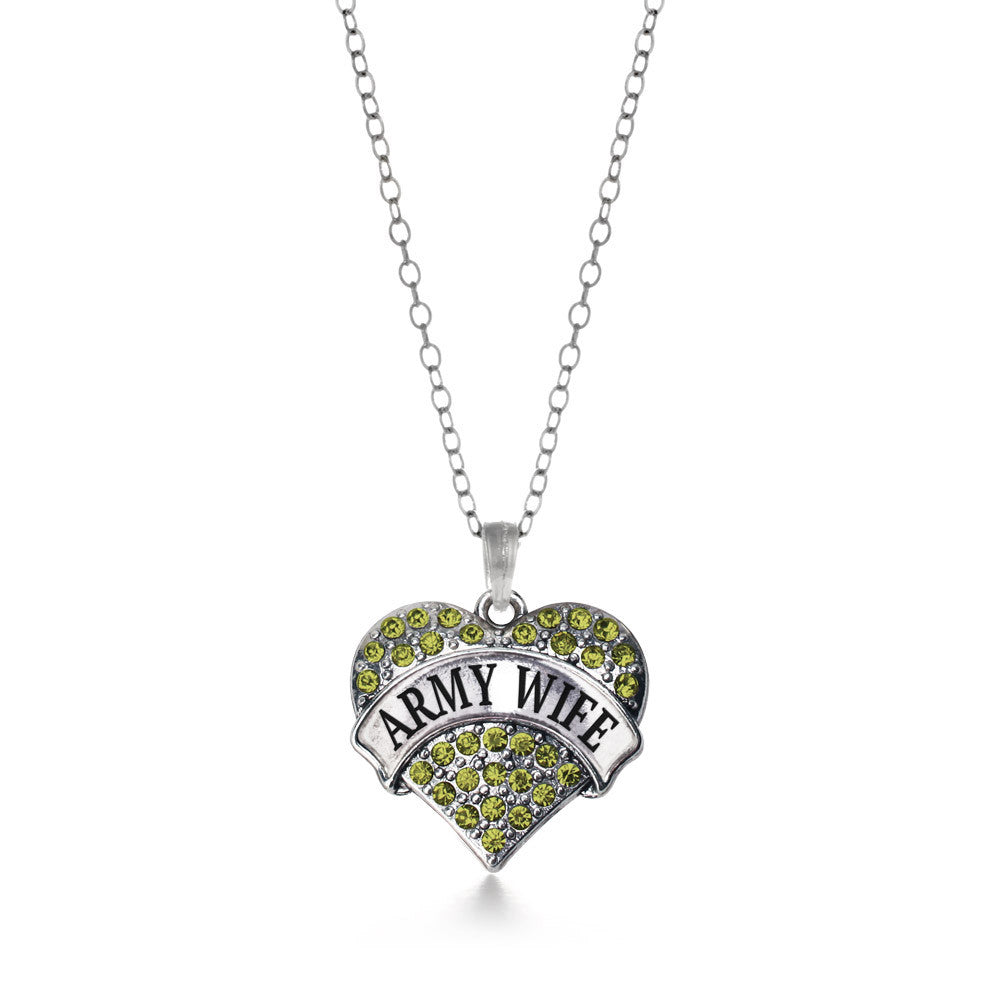 Army Wife Pave Heart Charm