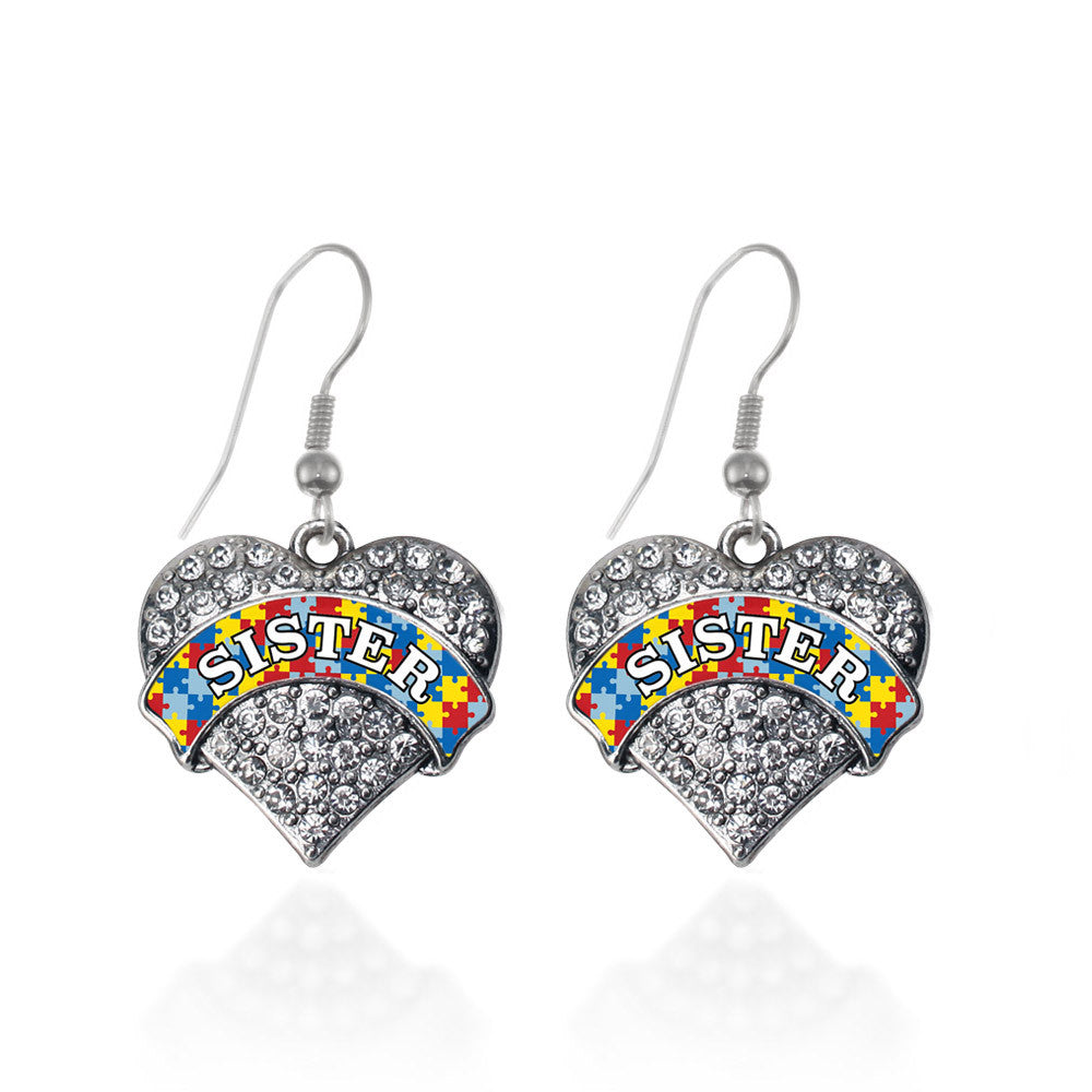 Autism Sister Pave Heart Charm