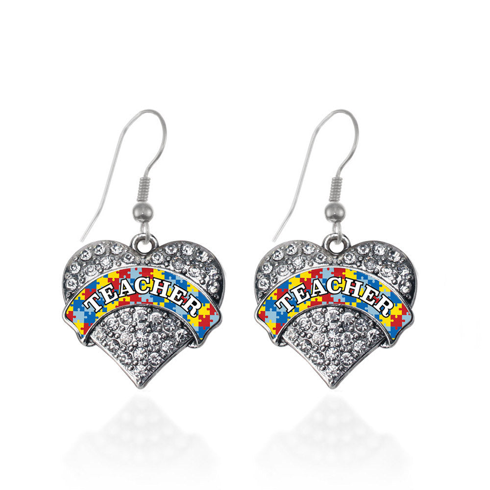 Autism Teacher Pave Heart Charm