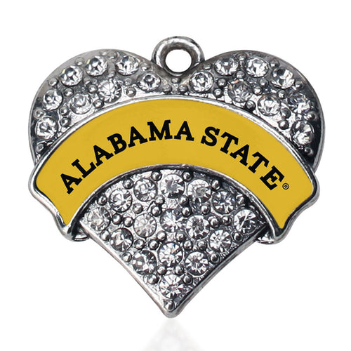 Alabama State University [NCAA] Pave Heart Charm